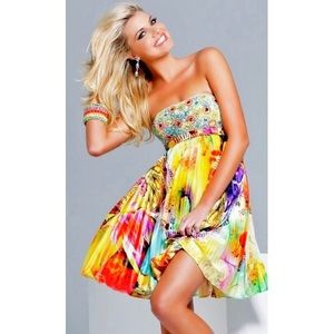Sherri Hill Multicolor Beaded Halter Dress Size 10